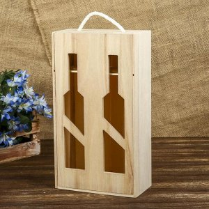 Шкатулка под роспись под 2 бутылки «Виноделие», дерево, 35 х 19,5 х 10 см