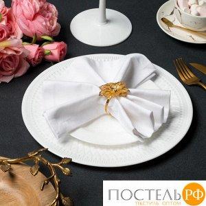 """Набор салфеток с кольцами """"Этель"""" Цветок 40*40-2шт,цв. белый/золото, 100% хл 6384903"""