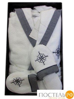 """Халат """"MARINE SALYAKA"""" + тапочки (XL) белый (Maison Dor)"""