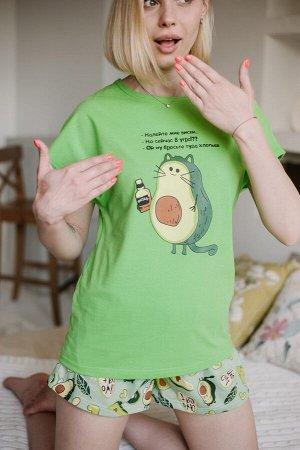 """Женская пижама ЖП 022 """"Ж"""" (Авокадо на салатовом -кот)"""