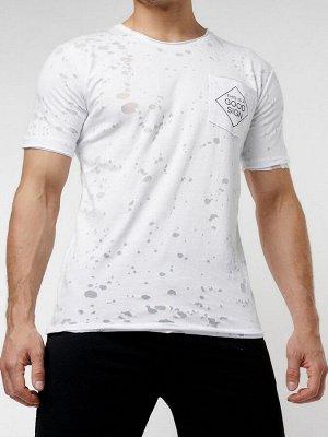 Мужская футболка с надписью  белого цвета 221485Bl