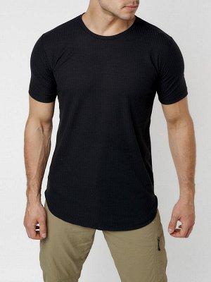 Мужская футболка однотонная черного цвета 221487Ch