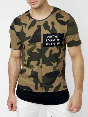 Мужская футболка с принтом камуфляж цвета 221083Kf