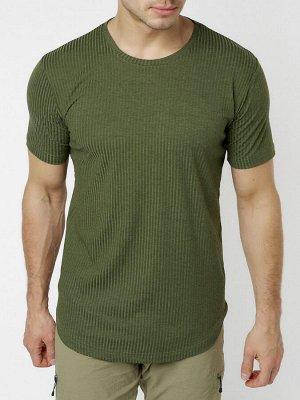 Мужская футболка однотонная хаки цвета 221487Kh