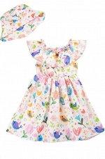 Платье для девочки с панамой  OP869 розовый