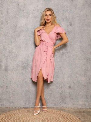 Розовый сарафан на запах с воланами