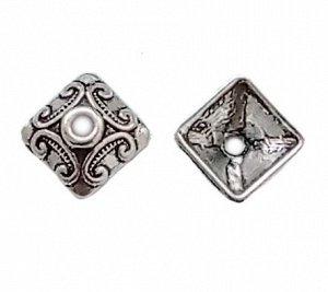 Шапочка Квадратная, серебристая с чернением, 10 мм. Цена за 1 шт.