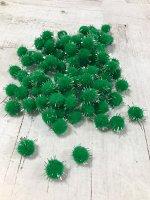 Помпоны акриловые с люрексом зеленые 1 см 100шт