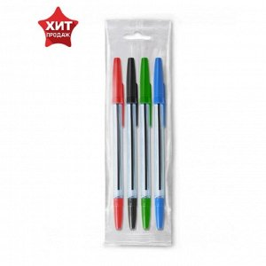 """Набор ручек шариковых микс 4 цвета «Стамм» 111 """"Офис"""", узел 0.7-1.0 мм, чернила: синие, красные, зеленые, чёрные, европодвес"""