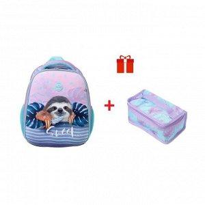 Рюкзак каркасный, Hatber, Ergonomic Plus, 38 х 29 х 16, с термосумкой, «Милый ленивец»