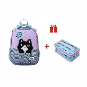 Рюкзак каркасный Hatber Ergonomic Classic 37 х 29 х 17, с термосумкой, «MEOW Смешной котик»
