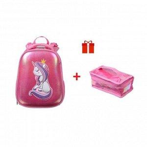 Рюкзак каркасный Hatber Ergonomic Classic 37 х 29 х 17, с термосумкой, «Единорог-Принцесса»