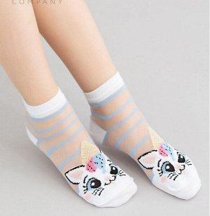 Детские носки с узором полоски и рисунком кошки