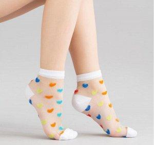 Детские носки с рисунком разноцветные сердечки