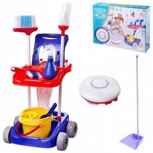 Игровой набор ABtoys Помогаю маме Генеральная уборка Тележка, робот-пылесос и аксессуары894