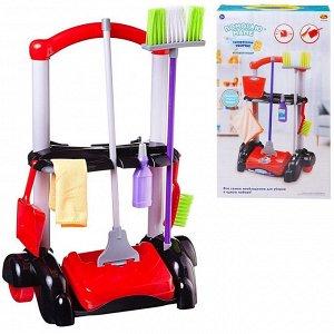 Игровой набор ABtoys Помогаю маме Генеральная уборка Тележка, механическая щетка для пола и 5 предметов885