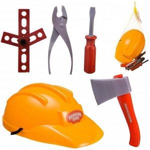 Игровой набор ABtoys Помогаю Папе Строительная каска и набор инструментов (топор и другие)980