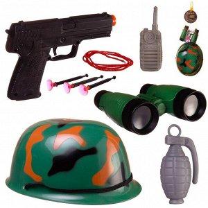 Игровой набор Abtoys Боевая сила Военная каска, пистолет с пулями на присосках, бинокль, рация, граната с аксессуарами, в сетке1679