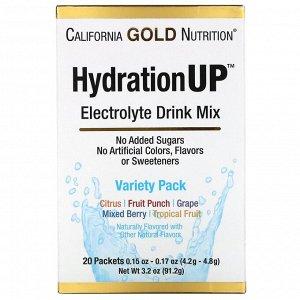 California Gold Nutrition, HydrationUP, смесь для приготовления напитка с электролитами, комбинированный набор из 20пакетов весом 4,2г в каждом (0,15унций)