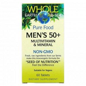 Natural Factors, Whole Earth & Sea, мультивитаминный и минеральный комплекс для мужчин старше 50 лет, 60 таблеток