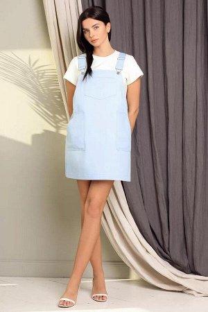 Сарафан 100% хлопокПлатье женское А-силуэта, изготовлено из натурального льна белорусского производства. Горловина V-образной формы, оформлена отложным воротником. Застежка центральная на петли и пуго