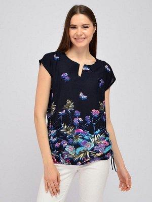 Блуза синяя с принтом и короткими рукавами