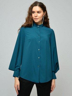 Блуза цвета морской волны с воротником-стойкой и объемными рукавами