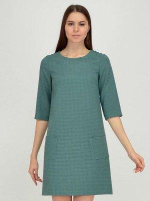 Платье зеленое длины мини с накладными карманами и рукавами 3/4