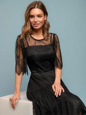 Платье черное длины миди с кружевом и объемными рукавами