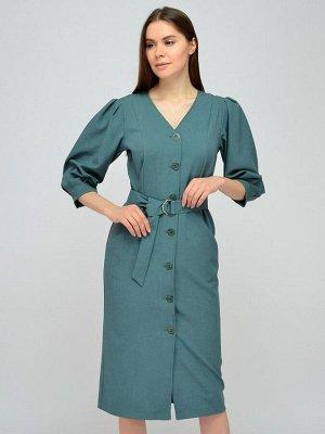 Платье зеленое длины миди с рукавами 3/4 и поясом
