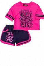 Комплект для девочки (футболка,шорты) фуксия