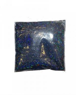 Блестки темно-синие голографические в пакете, 5 гр.