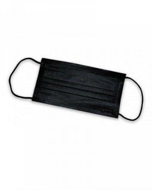 Маски защитные трехслойные черные, 50 шт.