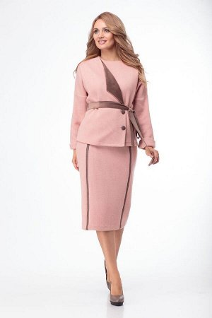 Жакет, юбка Anelli 774 розовый+коричневый