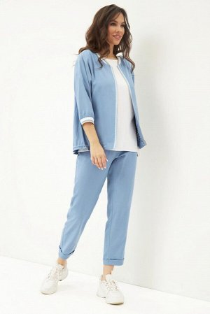 Блуза, бомбер, брюки Магия моды 1686 голубой