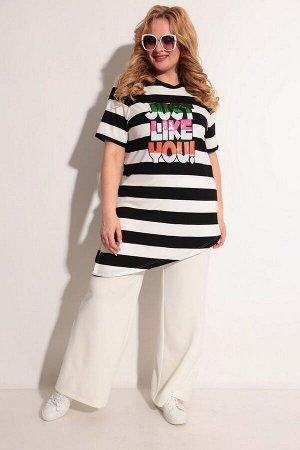 Блуза, брюки Michel chic 1237 черный-молочный