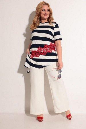 Блуза, брюки Michel chic 1237 черный-молочный-кружево
