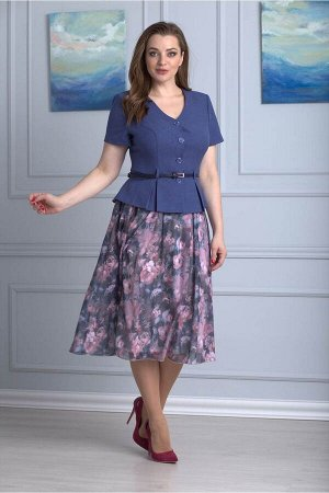 Жакет, юбка Anelli 690 синий_пионы