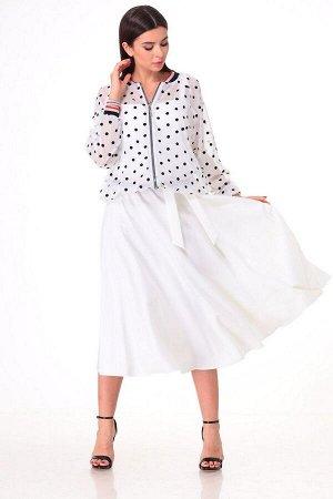 Бомбер, платье T&N 7058 белый+горох_белый