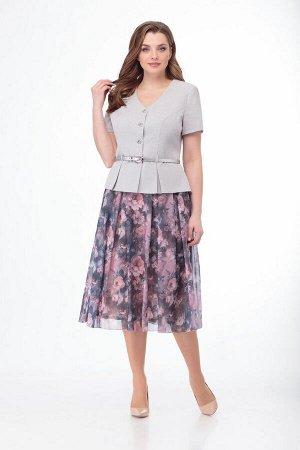Жакет, юбка Anelli 690 серый_пионы
