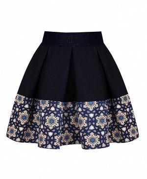 Тёмно-синяя юбка в складку для девочки Цвет: тёмно-синий