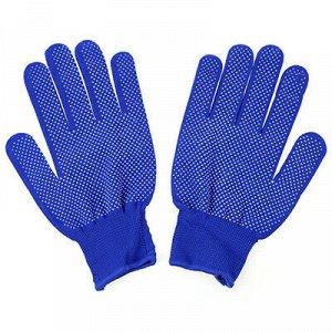 Перчатки нейлоновые с ПВХ, размер L, синий (Китай)