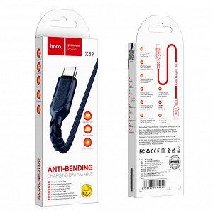 Кабель USB HOCO X59 Victory, USB - Type-C, 3A, 1 м, синий