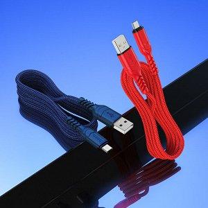 Кабель USB HOCO X59 Victory, USB - MicroUSB, 2.4А, 1 м, синий и черный