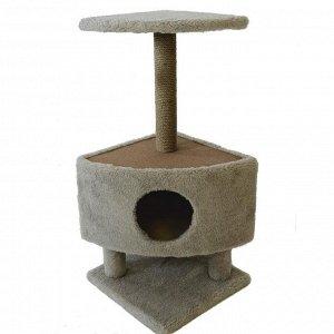 Домик угловой для кошек на столбиках-ножках, 38,5 х 38,5 х 86 см, джут, тёмно-бежевый