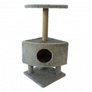 Домик для животных на столбиках-ножках, 38,5 х 38,5 х 86 см, джут, темно-серый
