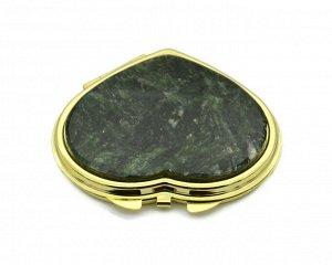 Зеркало с накладкой из актинолита сердце 71*69*10мм, золотистое