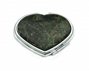 Зеркало с накладкой из актинолита сердце 71*69*10мм, серебристое