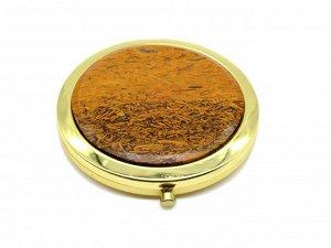 Зеркало с накладкой из гематита кровавого круг 70*76*13мм, золотистое