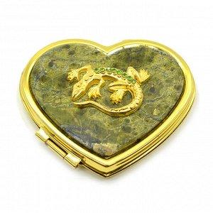Зеркало с накладкой из змеевика сердце 70*64*12мм с ящеркой стразы, золотистое